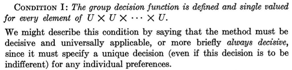 CONDITION I: The group decision function is defined and single valued for every element of U X U X ... X U. We might describe this condition by saying that the method must be decisive and universally applicable, or more briefly always decisive, since it must specify a unique decision (even if this decision is to be indifferent) for any individual preferences.